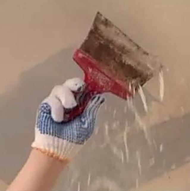 Очистка от шпаклевки стен или потолка