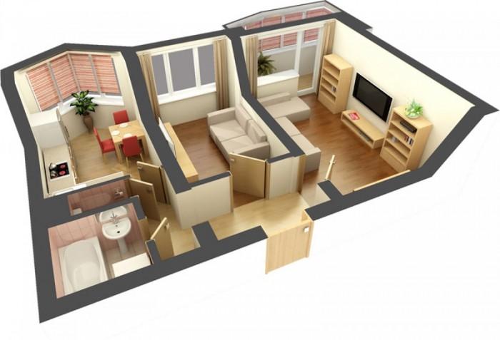 Типовой дизайн двухкомнатной квартиры